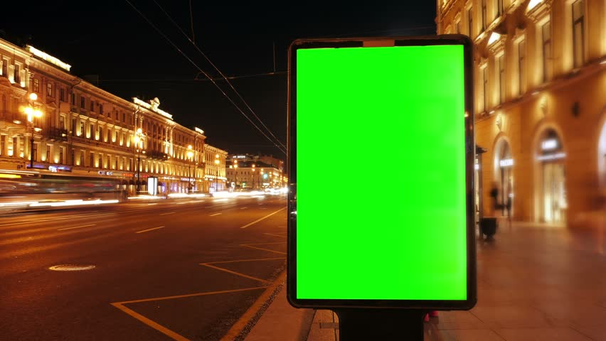 A Billboard with a Green Screen on a Busy  Street,Time Lapse.   Shutterstock HD Video #18754910