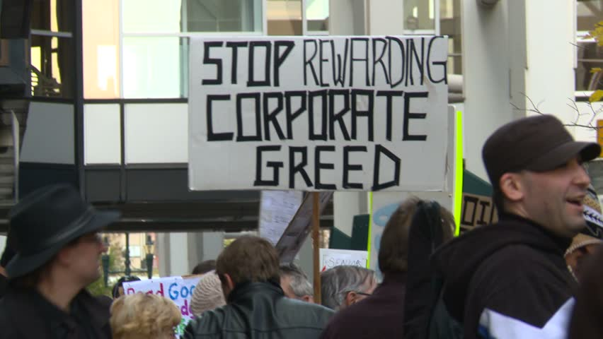 CALGARY, CANADA - CIRCA 2011: Protest, Occupy (Wall-Street) Calgary, signs circa 2011 in Calgary, and signs
