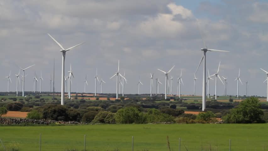Wind turbines field, green energy.
