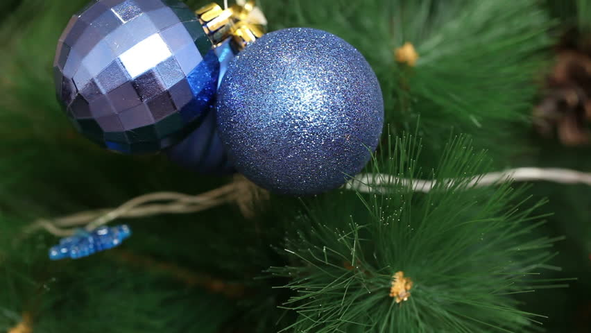 A bunch of blue balls on the Christmas tree. Christmas background | Shutterstock HD Video #18928691