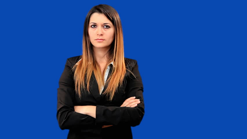 Blue screen beautiful business woman girl talk - HD stock video clip