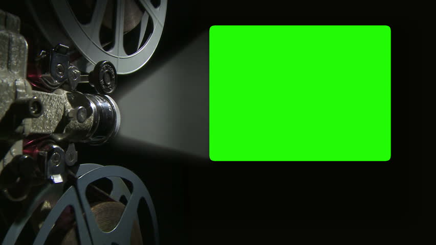 Film projector with 4 x 3 aspect ratio chroma key green screen