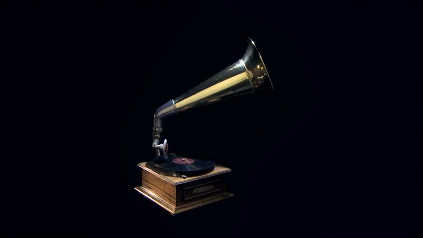 Vintage gramophone rotation