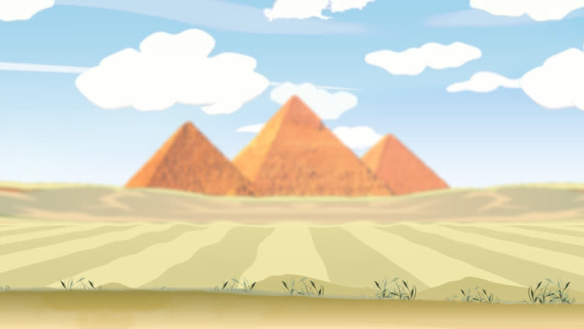 egypt desert & pyramids. a travel through desert, with pyramids in background, a crossing camel in foreground, cloudy sky, pan animation - HD stock video clip