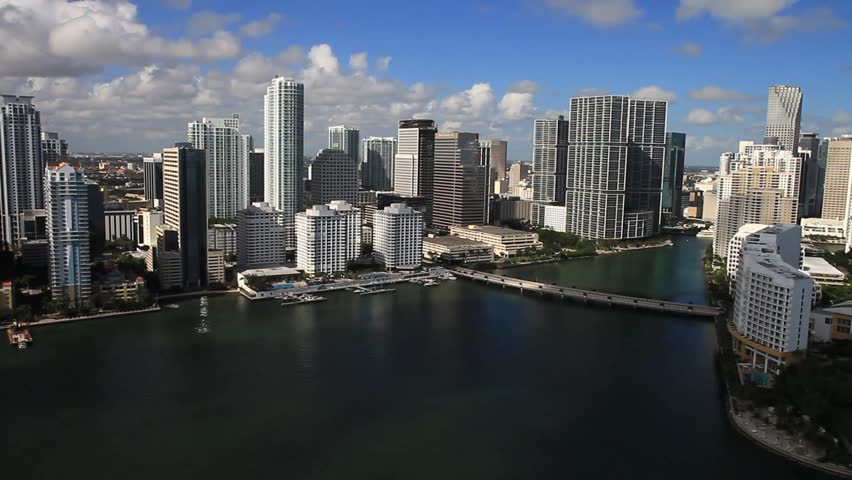 Aerial view of Downtown Miami - HD stock footage clip