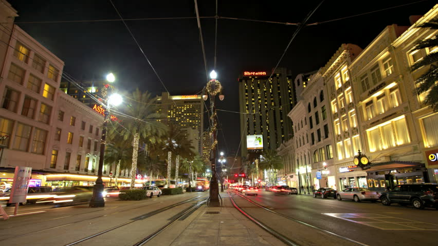 NEW ORLEANS  - DEC 09: Timelapse of a traffic in Canal Street at night on December 09, 2011 in New Orleans, USA