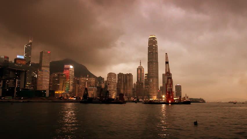 A golden Hong Kong Harbour at sunset - HD stock footage clip