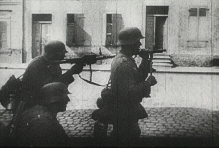 EUROPE - CIRCA 1942-1944: World War II, Nazis Attack with Rifles and Machine Guns - SD stock video clip