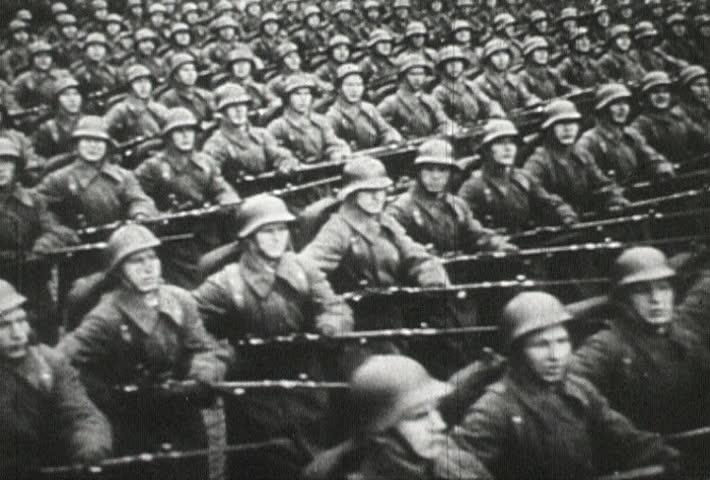 EUROPE - CIRCA 1942-1944: World War II, Russian Soldiers Marching