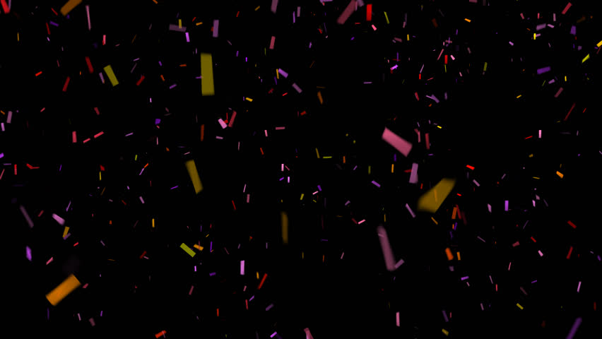 Falling Confetti on Black Background