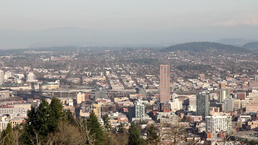 Portland Oregon Downtown Cityscape from Pittock Mansion 1080p Panning - HD stock video clip
