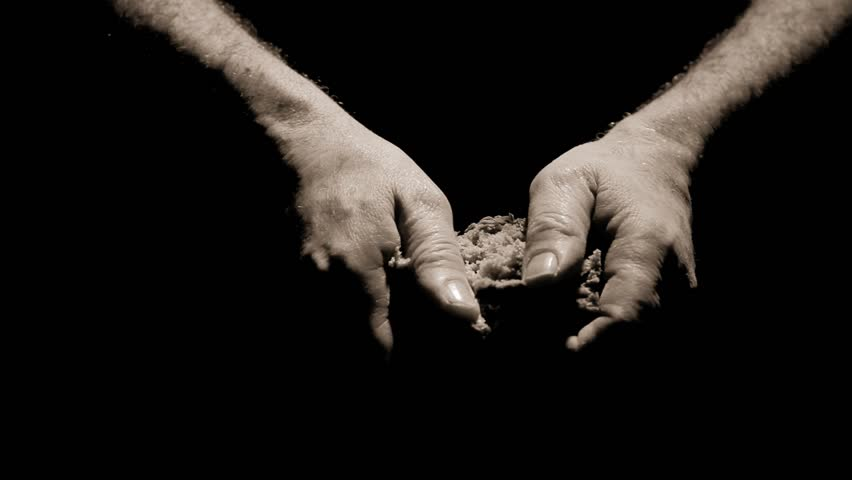 Human Hand giving a piece of bread