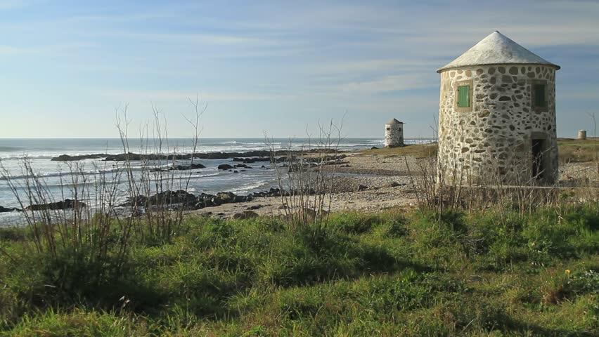 Old windmills on the coast of viana do castelo portugal - Viana do castelo portugal ...