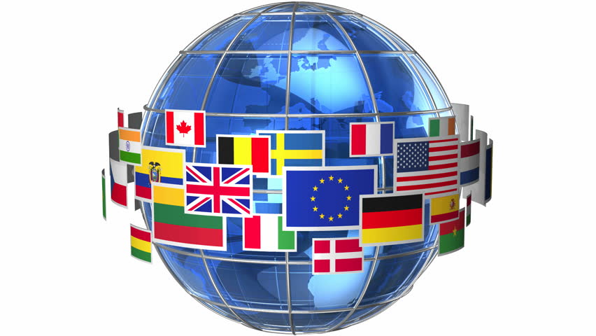 Rotating Earth globe with world flags isolated on white background