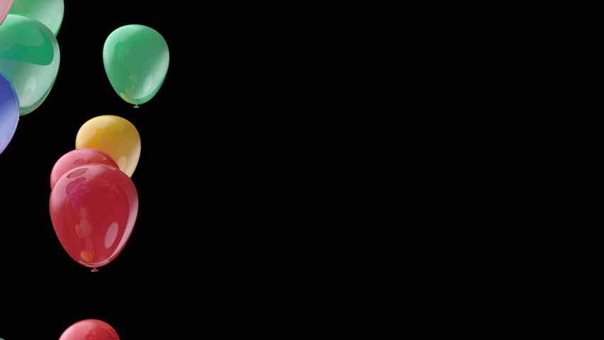 flying red green and yellow balloons transition - HD stock footage clip