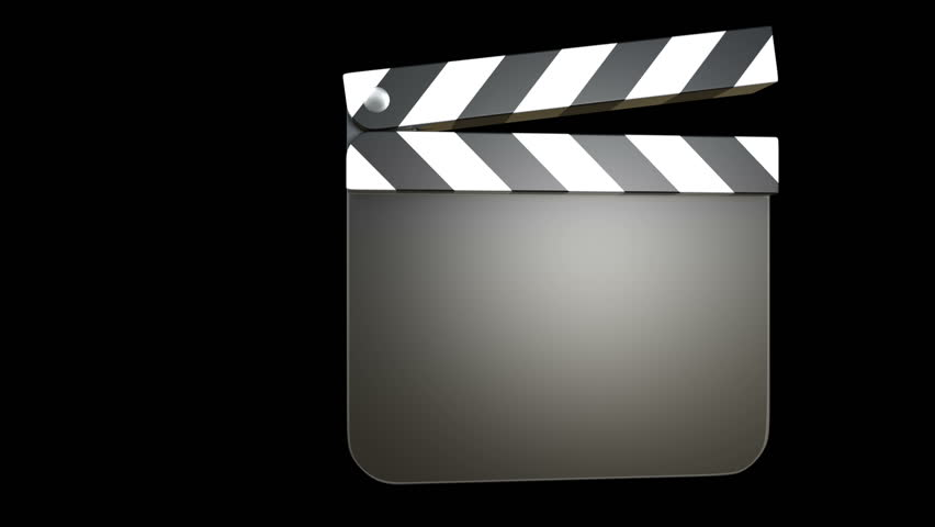 3D animation of a film clapper with alpha matte