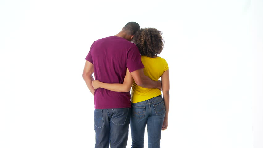 Back Of African-American Couple Holding Each Other Stock