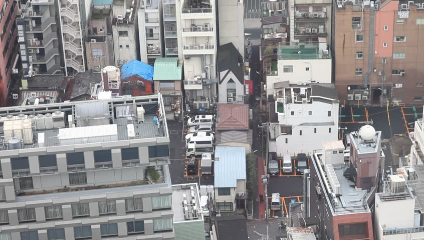 Aerial view of high rise apartment buildings and busy for Apartment japanese movie