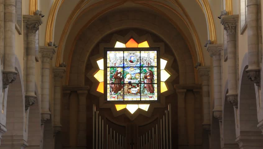 Stained glass window in the Church of the Nativity in Bethlehem, Jerusalem - HD stock footage clip