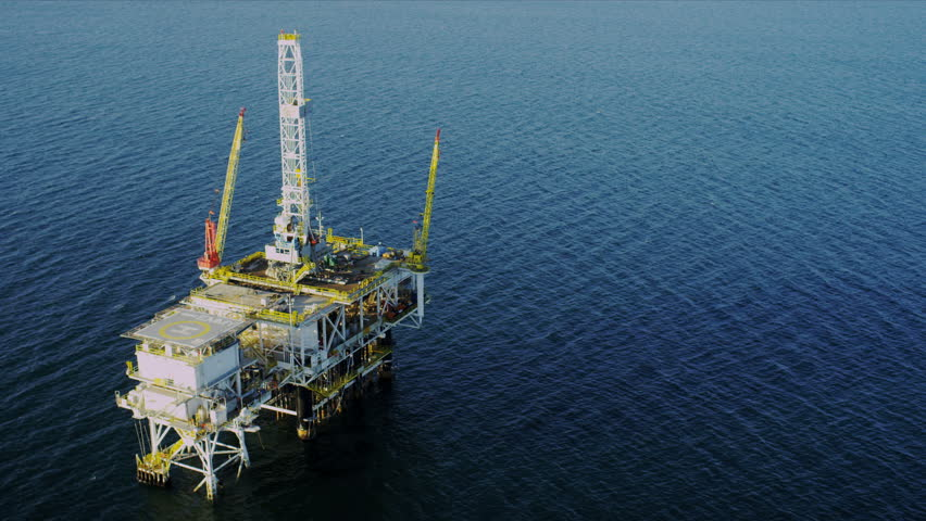 Aerial view of working deep water oil production platform, USA - HD stock video clip