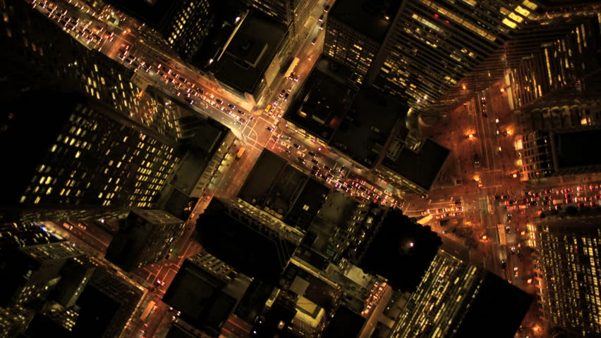 Aerial view of skyscrapers at night in San Francisco