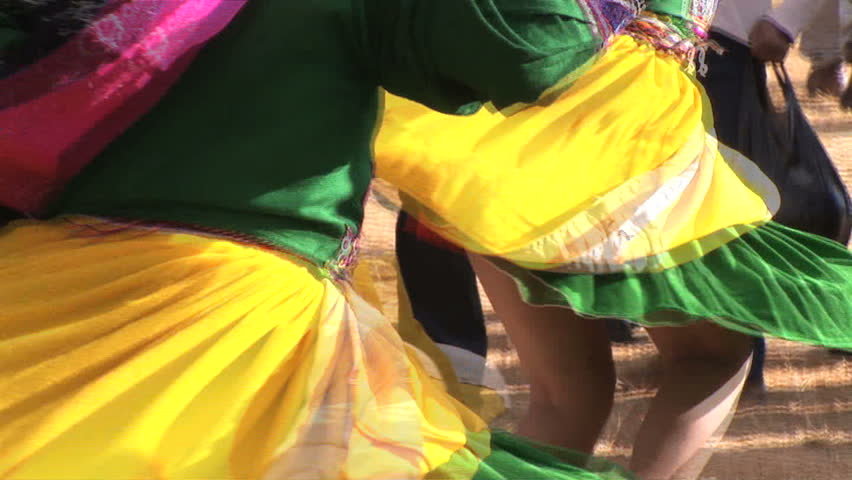 two girls dancing at Inti Raymi festival in Cuzco, Peru - HD stock footage clip