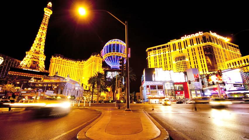 Time lapse traffic night on Las Vegas strip