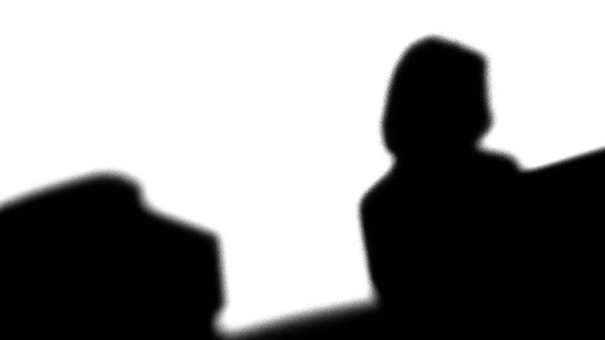 Silhouette of office workers on computer - HD stock footage clip
