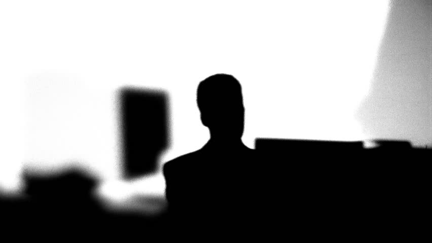 Silhouette of office workers typing - HD stock footage clip