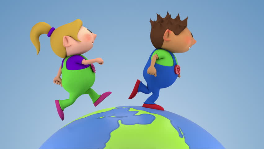 two cute kids running around a spinning globe - high quality 3d animation - loopable  - HD stock video clip