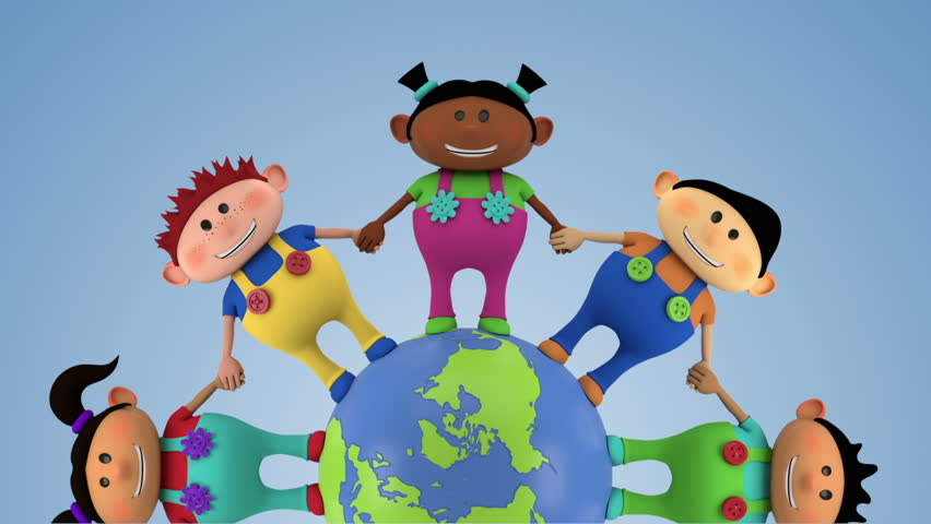 cute multi-ethnic kids holding hands around spinning globe - closer version - high quality 3d animation - loopable