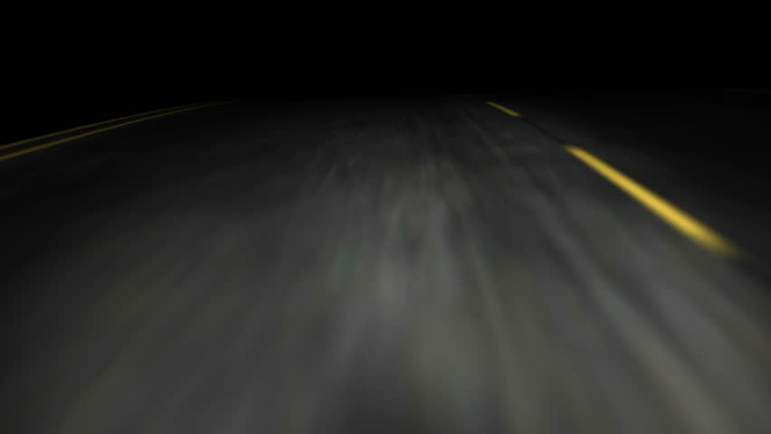 3D animation of a road trip on an empty road at night - HD stock video clip