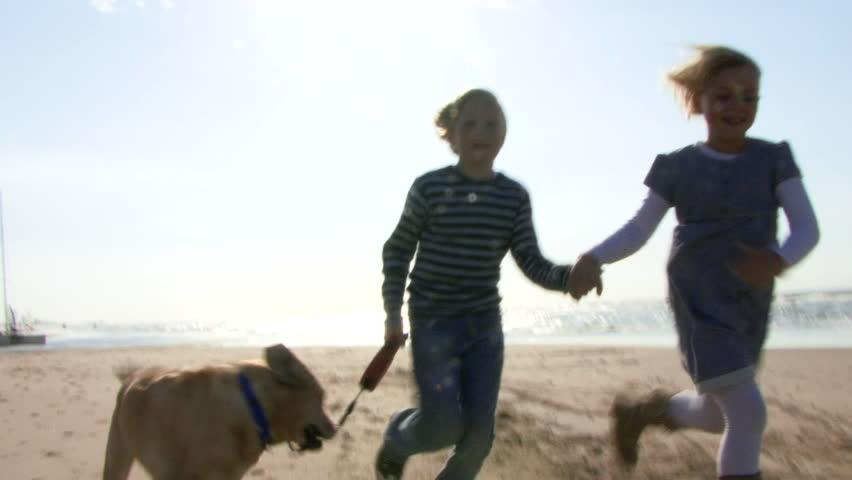 WIDE SHOT, Handheld, Children running hand in hand on beach with dog - HD stock footage clip