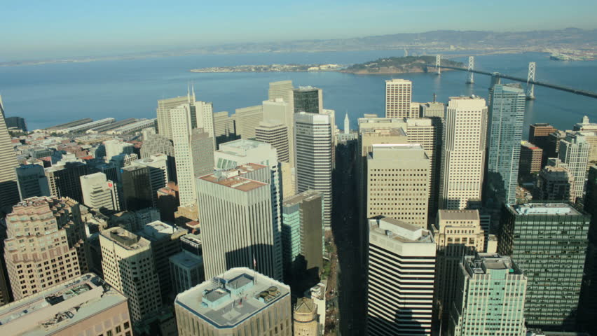 Aerial view of Bay bridge and the city skyscrapers of San Francisco, California, North America, USA