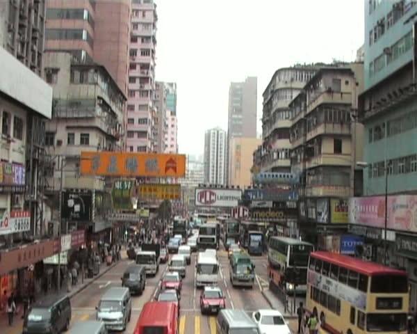 Elevated view of Hong Kong street