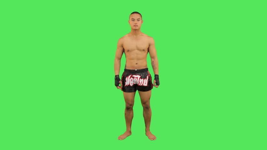 Thai boxer celebrating - HD stock footage clip