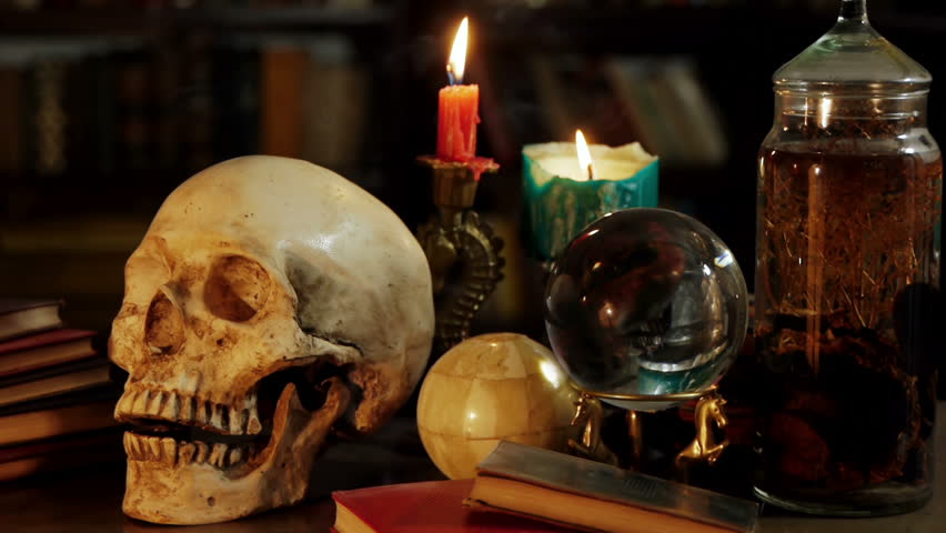 Occult Magic Desk (HD). Occult study setup desk with a skull, candles, crystal ball, books, and other occult paraphernalia. Skull is resin replica not real