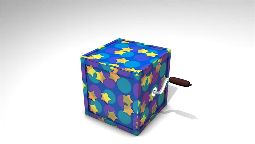 Concept 3d animation Jack in the box with surprise happy birthday text.