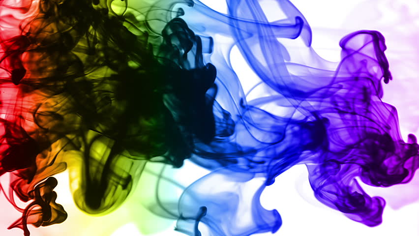 Rainbow Inks in Water (HD). Colorful ink streams traverse across a pale inky water tank shot sideways. | Shutterstock HD Video #2266298