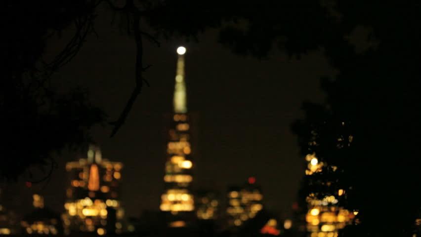 The San Francisco skyline night time - HD stock video clip