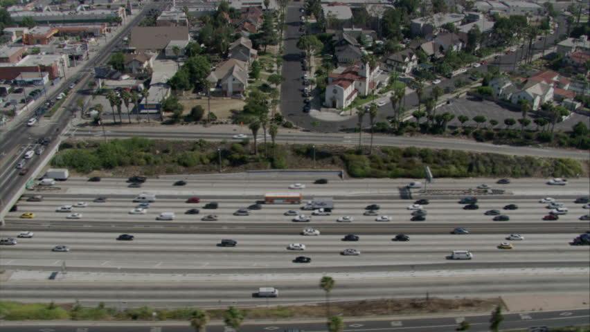 Sky view of traffic moving on LA freeways   Shutterstock HD Video #2275082