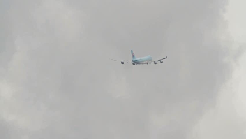 OSLO, NORWAY - MAY 2012: Korean Air Cargo, Boeing 747-400 freight airplane in