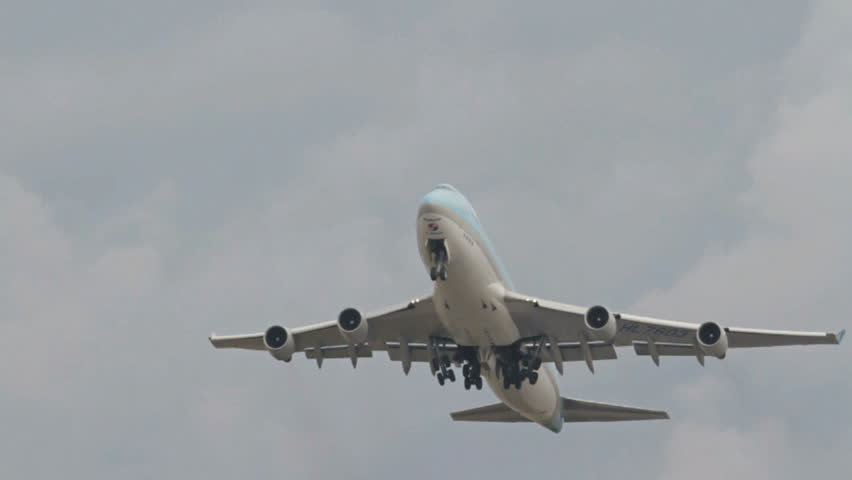 OSLO, NORWAY - MAY 2012: Korean Air Cargo, Boeing 747-400 freight airplane take