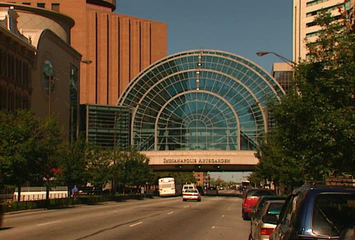 INDIANAPOLIS - CIRCA 2002: Indianapolis ArtsGarden facade from street circa 2002 in Indianapolis, Indiana.