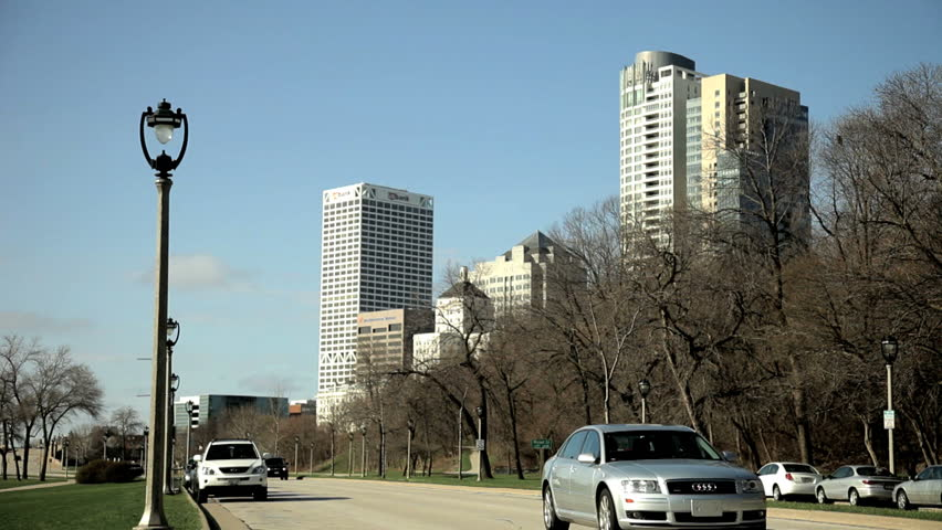 Milwaukee - Circa 2009: Downtown Milwaukee in 2009. View of the business district in Milwaukee, Wisconsin. - HD stock video clip