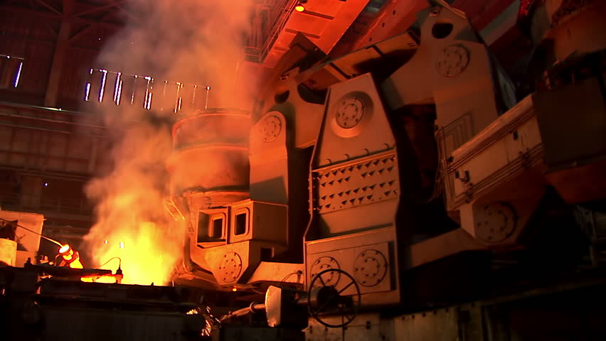 Iron and Steel Works. Metal smelting. - HD stock footage clip