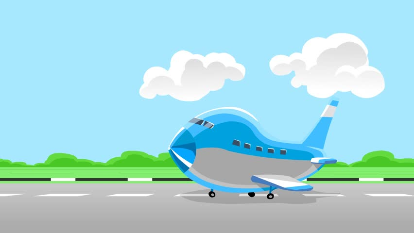Airplane take off. Animation cartoon. 3 shot sequence