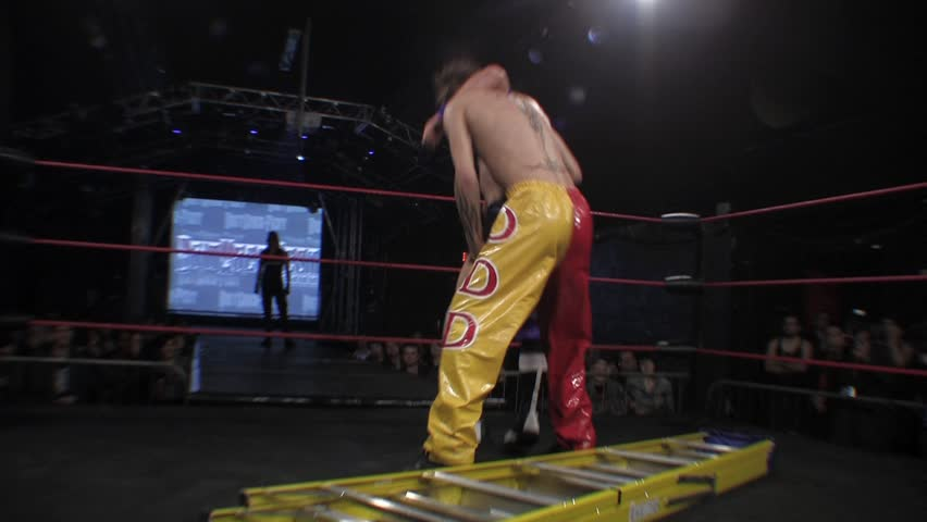 LONDON - FEBRUARY 21: Wrestling Suplex on Ladder during BritWres-Fest 2011 on February 21, 2011 - HD stock footage clip