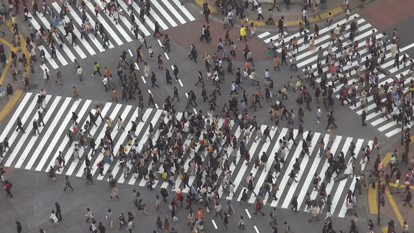 Aerial view of a busy day in Shibuya pedestrian crossing, Tokyo, Japan | Shutterstock HD Video #2324024