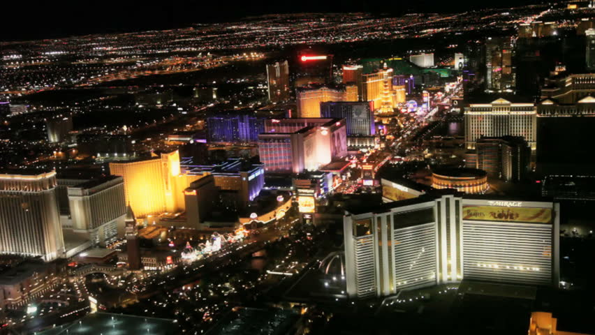 Las Vegas - Circa 2010: The Las Vegas strip in 2010. Aerial view of the Las vegas strip at night in Las Vegas, Nevada. - HD stock footage clip